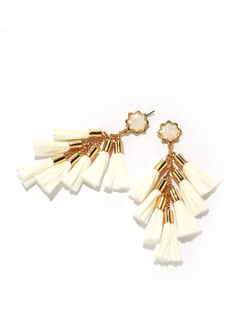 Crown & Ivy™ Gold Tone Linear Tassle Earrings