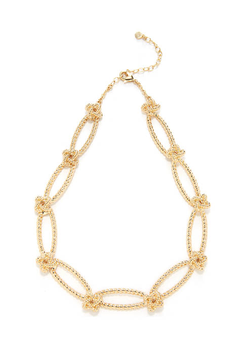 Knot Link 17 Inch Collar Necklace