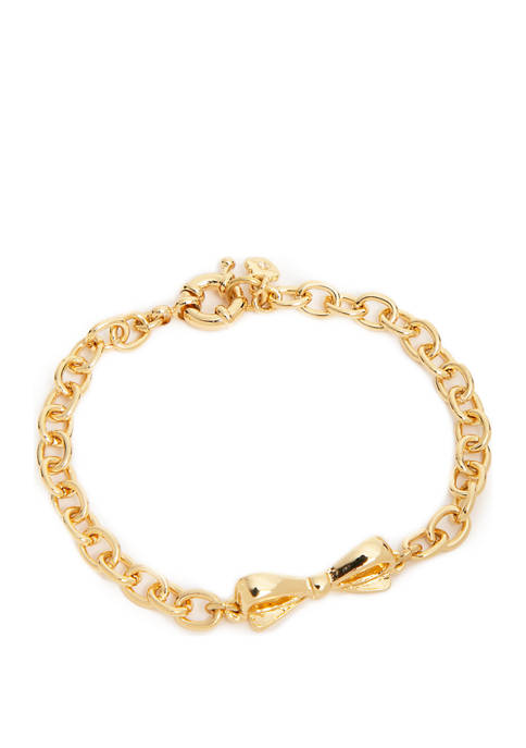 Boxed Gold Tone Soft Bracelet with Bow