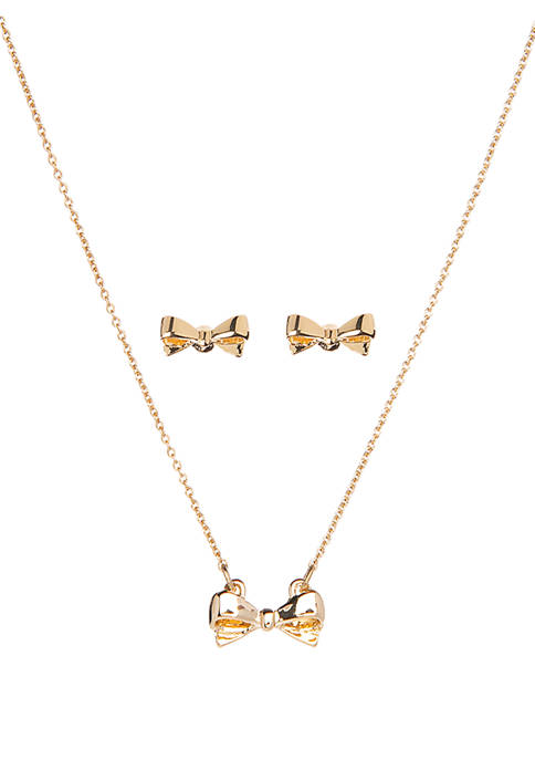 Crown & Ivy™ Boxed Gold Tone Bow Pendant