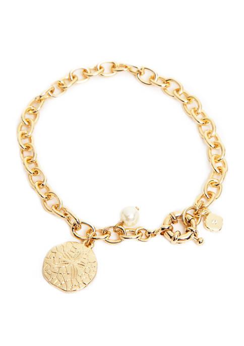 Boxed Gold Tone Pearl Soft Sand Dollar Bracelet