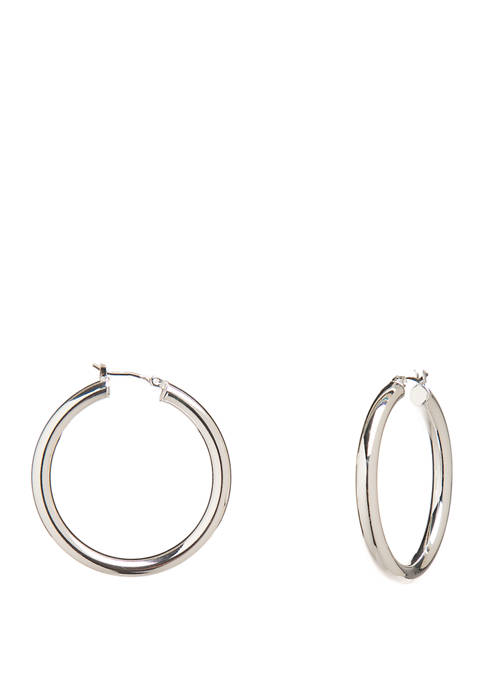 Silver Tone Medium Tubular Click Top Hoop Earrings