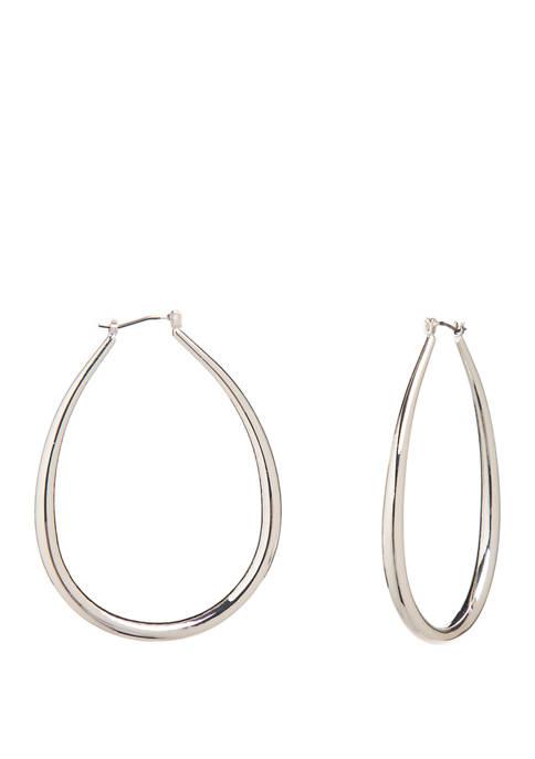 Silver Tone Tubular Elongated Hoop Earrings
