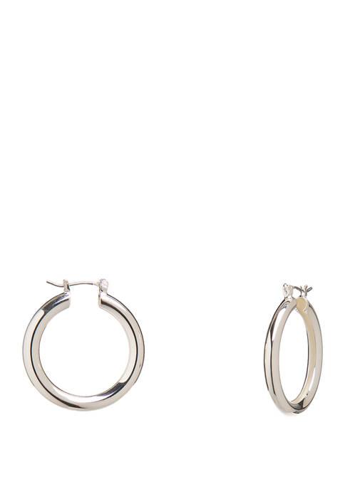 Silver Tone Small Tube Hoop Earrings