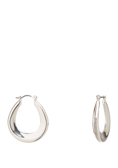 Silver Tone Tape Tube Hoop Earrings