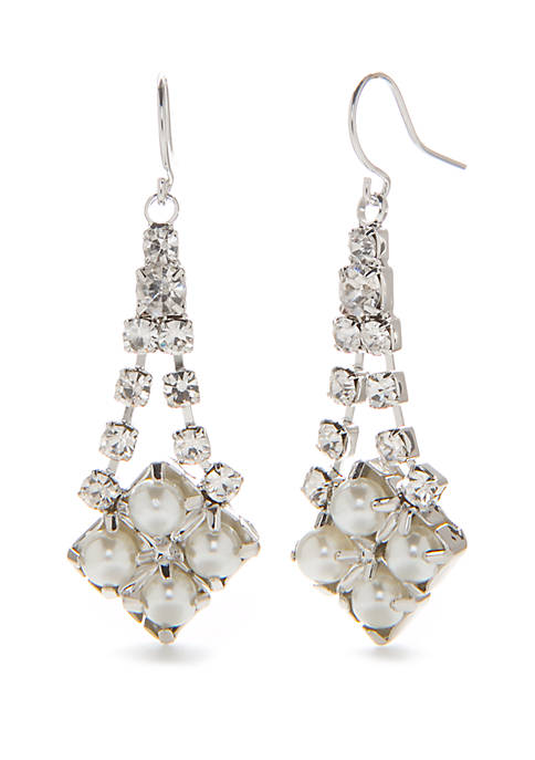 Silver Tone Vintage Drop Earrings