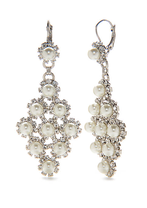 Crown & Ivy™ Silver Tone Pearl Kite Earrings