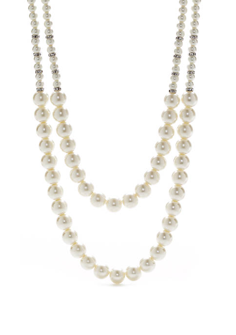 Silver Tone 2 Row Pearl Necklace