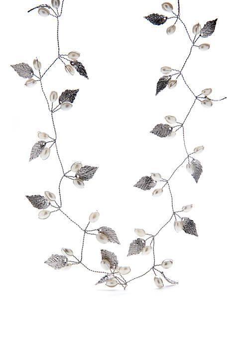Crown & Ivy™ Silver Leaves Pearl Wire Hair