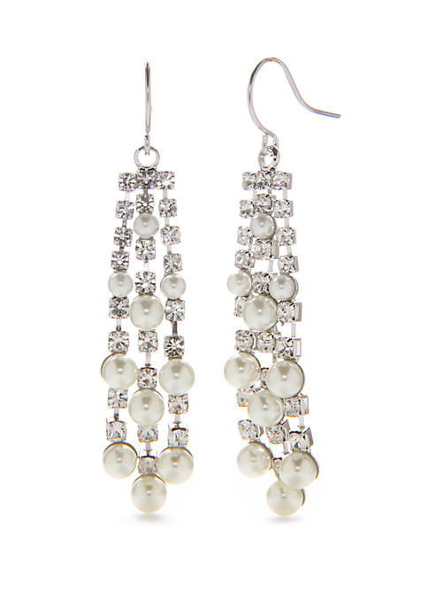 Crown & Ivy™ Silver Tone Crystal Strand Earrings