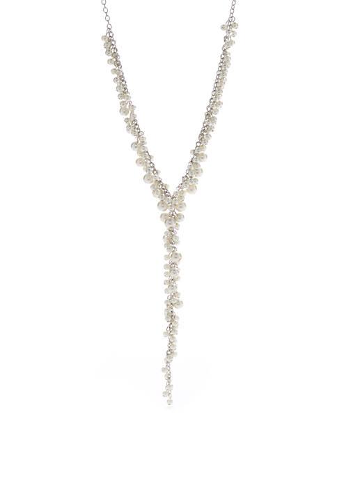 Silver Tone Pearl Cluster Y Necklace
