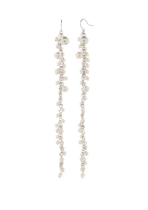 Silver Tone Cluster Earrings