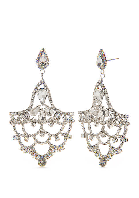 Crown & Ivy™ Silver Tone Cluster Earrings