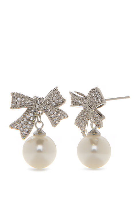 Silver Tone Bow Pearl Drop Earrings