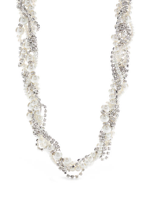Silver Tone Braided Pearl Necklace
