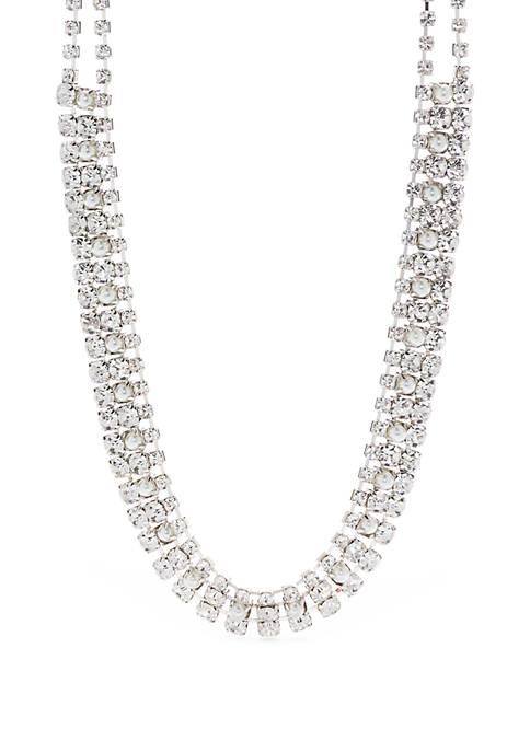 Silver Tone 3 Row Necklace