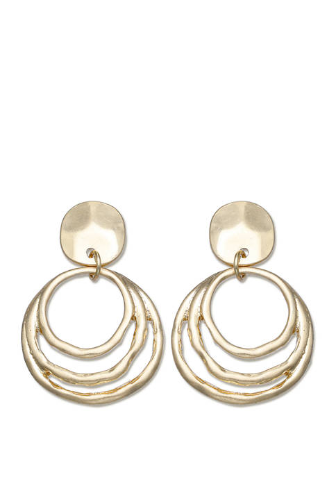 Milli by Jules B Hammered Post Drop Earrings