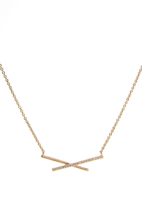 Gold Layer Cubic Zirconia X Pendant Necklace