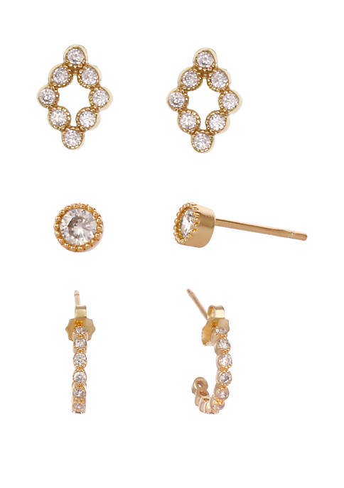Gold Flash Sterling Silver Trio Earrings with Cubic Zirconia Stone Accents