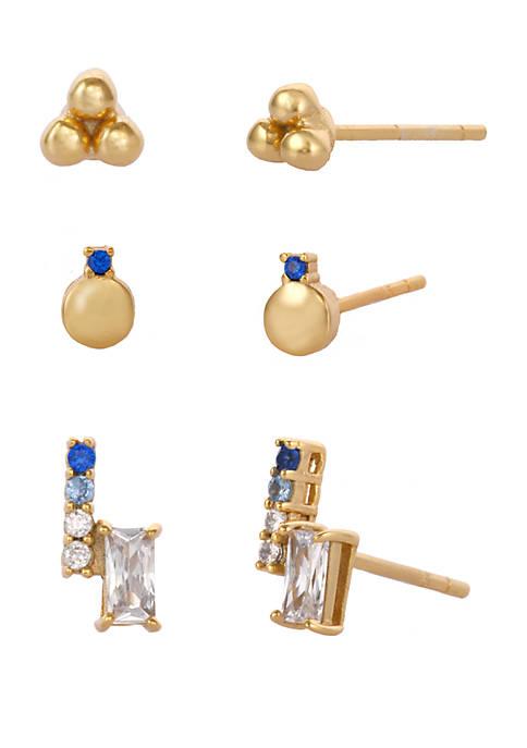 Belk Silverworks Gold Flash Sterling Silver Trio Earrings