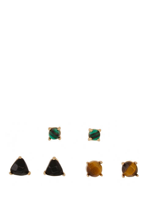 Gold Tone Fine Silver Plate Trio Earrings with Onyx, Tiger Eye and Malachite Stones