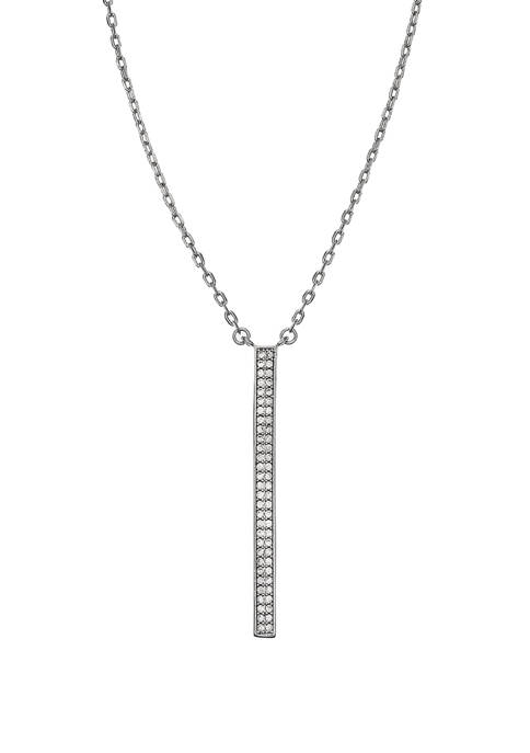 Fine Silver Plated Reversible Linear Pendant Necklace with Cubic Zirconia