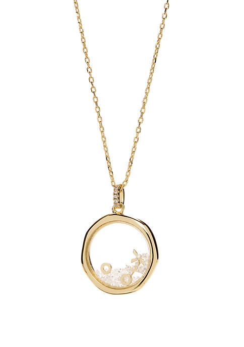 Belk Silverworks Gold Tone Round Bezel Necklace