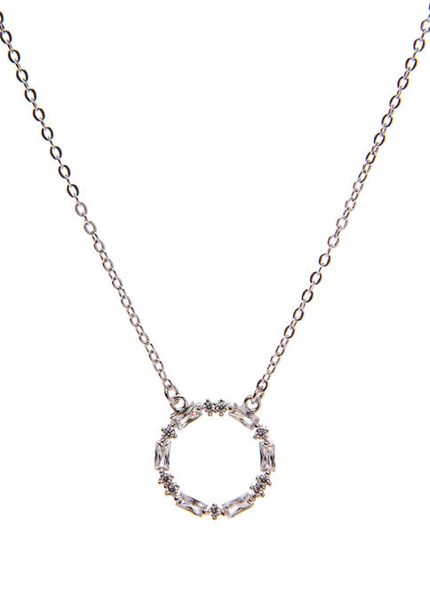 Silver Layer Cubic Zirconia Open Pendant Necklace