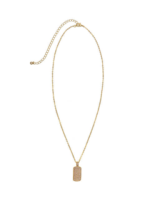 Gold Tone Fine Silver Plate Dog Tag Pendant Necklace with Cubic Zirconia