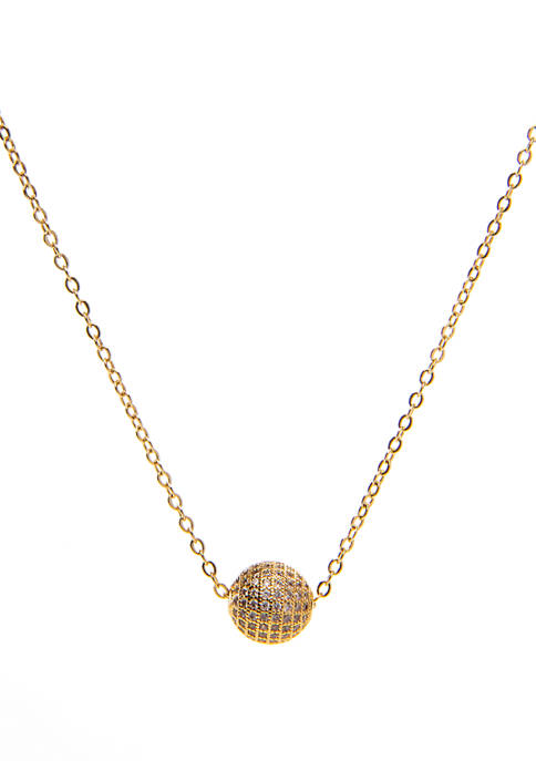 Belk Silverworks Gold Layer Cubic Zirconia Dome Pendant