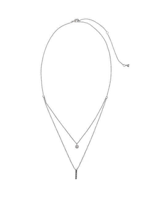 Fine Silver Plate 2 Row Necklace with Cubic Zirconia