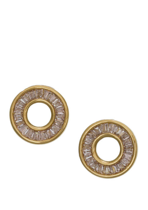 Gold Tone Fine Silver Plate Round Button Earrings with Cubic Zirconia Baguette Stones