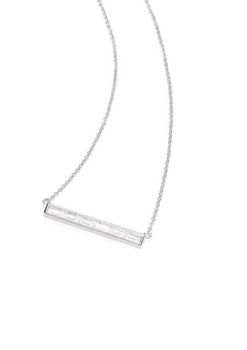 Fine Silver Plated Bar Pendant Necklace with Cubic Zirconia