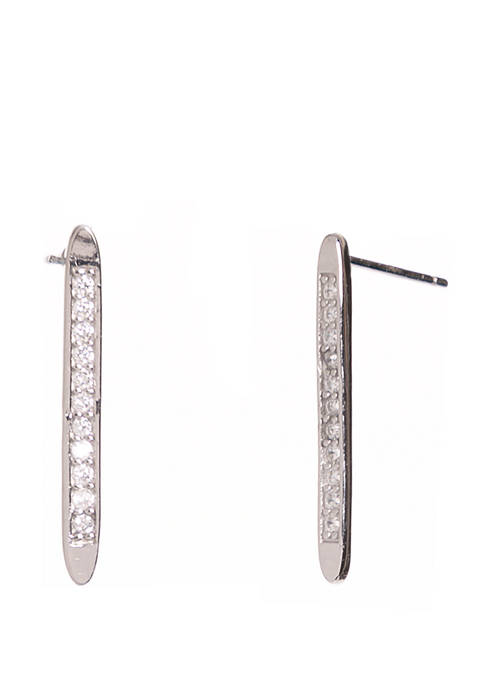 Belk Silverworks Sterling Silver Linear Earrings with Cubic