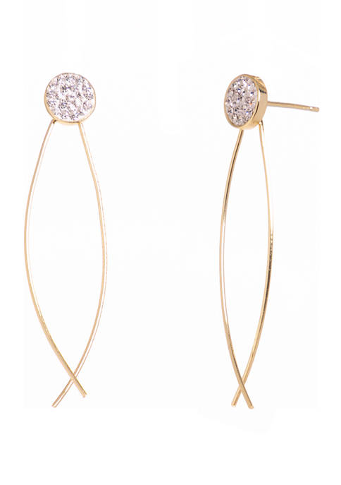 Gold Tone Sterling Silver Linear Criss Cross Earrings with Cubic Zirconia Stone Post Top