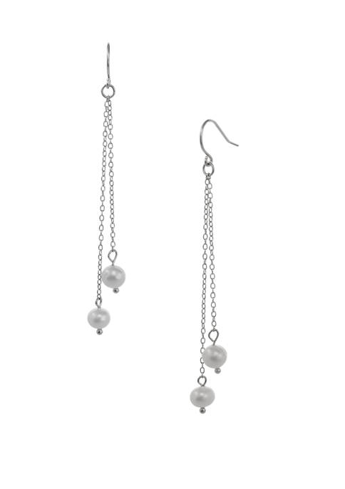 Belk Silverworks Sterling Silver Linear Earrings with Freshwater