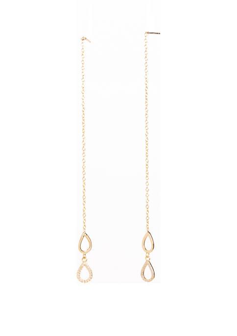 Belk Silverworks Gold Tone Sterling Silver Threader Earrings