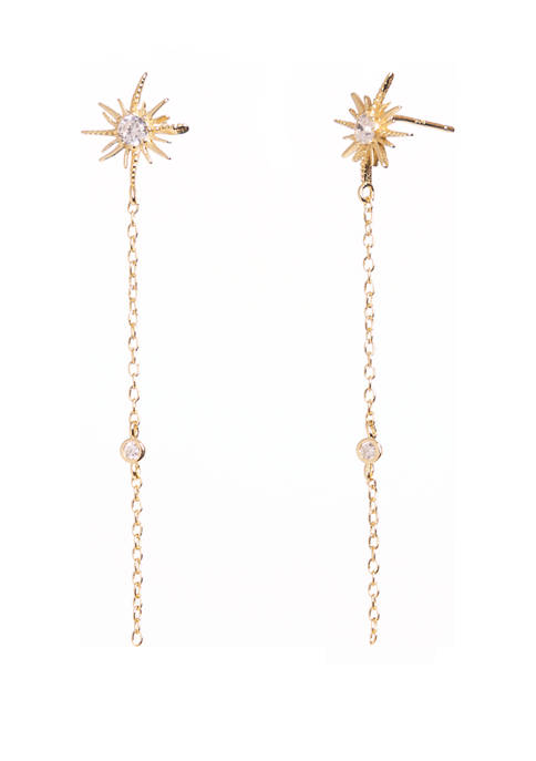 Gold Tone Sterling Silver Linear Earrings with Cubic Zirconia Starburst Post