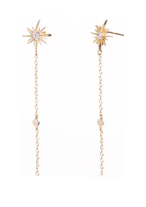 Belk Silverworks Gold Tone Sterling Silver Linear Earrings