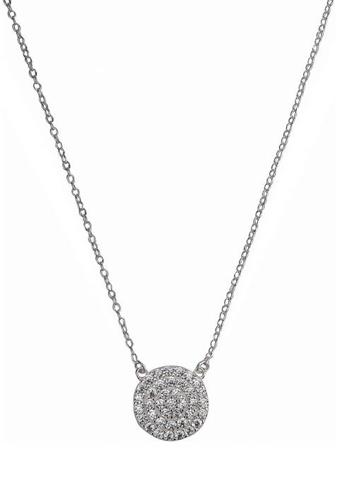 Silverworks Sterling Silver Disc Pendant Necklace with Cubic Zirconia Stones