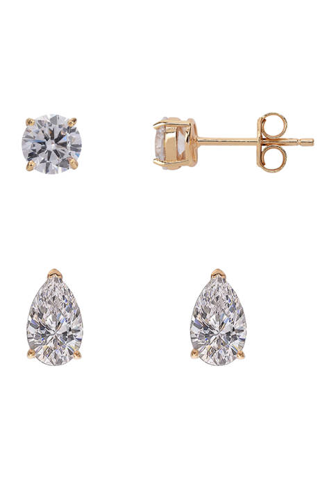 Sterling Silver Gold Tone Duo Cubic Zirconia Earring Set
