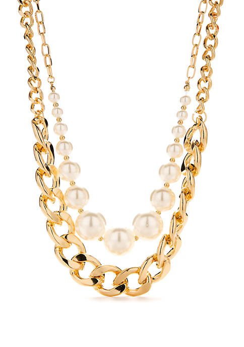Crown & Ivy™ Gold Tone Pearl Necklace