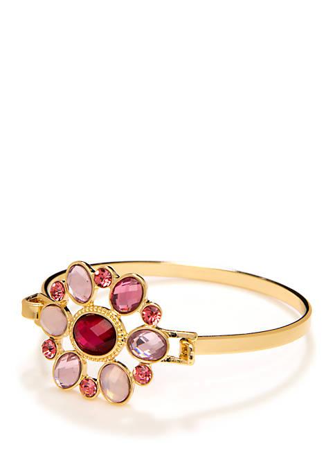 Stone Cluster Bangle Bracelet