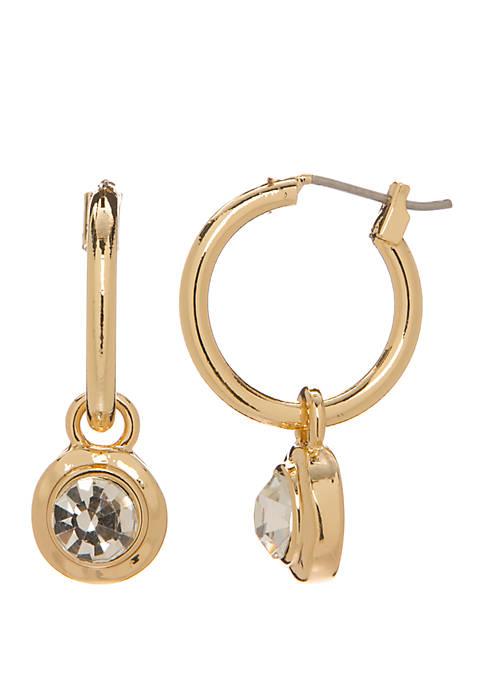 Small Hoop Stone Drop Earrings