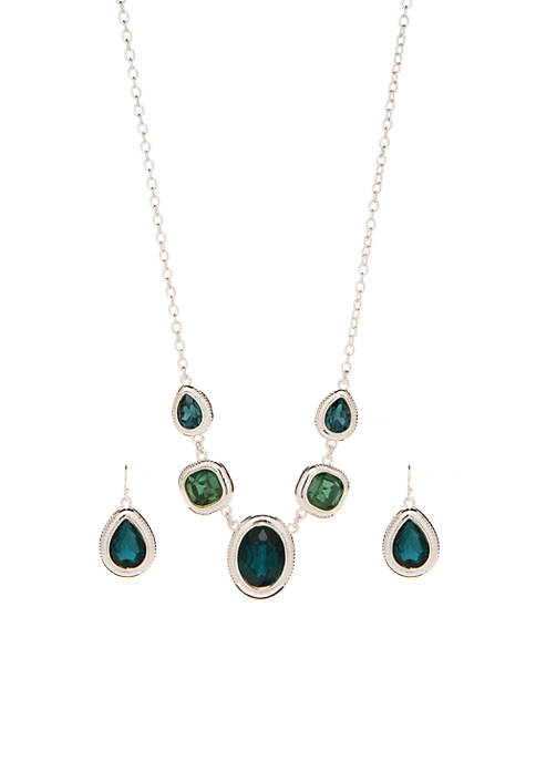 Frontal Drop Earring and Necklace Set
