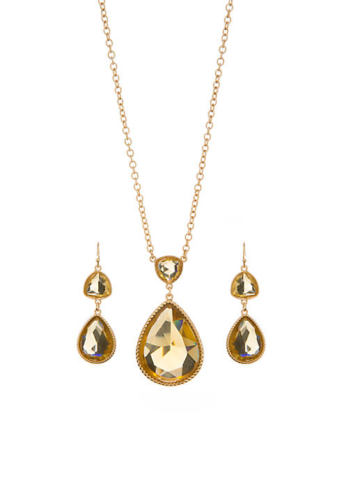 3 Piece Cluster Pendant Necklace and Earring Set