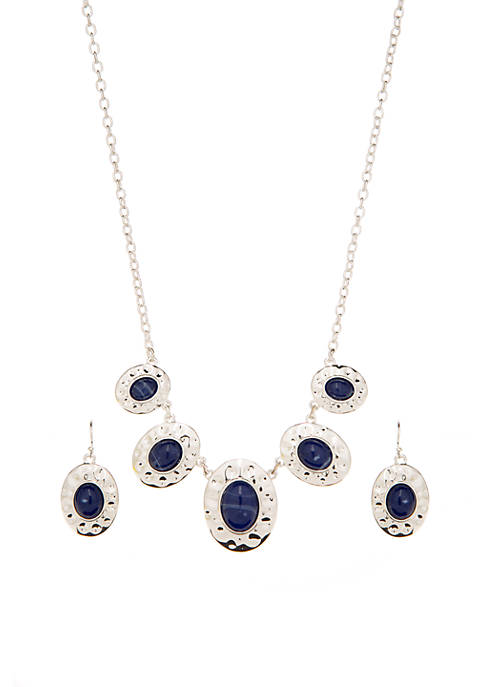 Silver Tone Oval Stone Necklace and Earring Set