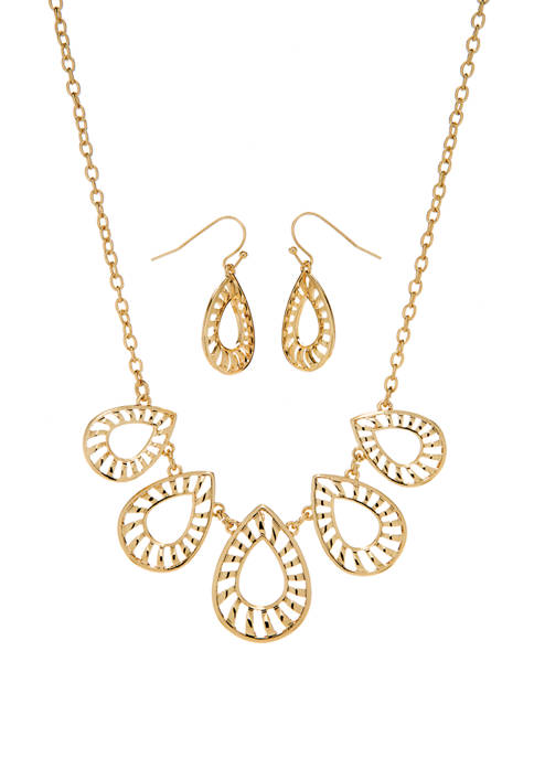 16 Inch 2 Piece Gold Tone Open Tear Drop Earrings and Necklace Set