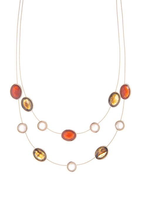 Gold Tone Wire Illusion Necklace