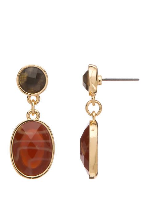 Oval Stone Post Drop Earrings